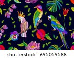 hot tropical summer. seamless... | Shutterstock .eps vector #695059588
