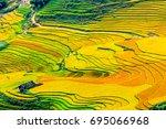 sapa  landscape terraced rice... | Shutterstock . vector #695066968