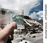 Small photo of Money print against Potala Palace in Lhasa, Tibet