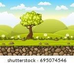 seamless cartoon nature... | Shutterstock .eps vector #695074546