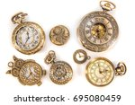 Stock photo vintage watch collection isolated on white background 695080459