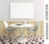 mock up poster in interior with ... | Shutterstock . vector #695087548