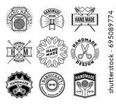 simple mono lines logos...   Shutterstock .eps vector #695089774