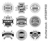 simple mono lines logos... | Shutterstock .eps vector #695089900