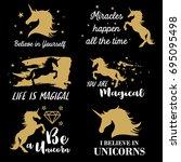 vector illustration of unicorn... | Shutterstock .eps vector #695095498