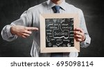 we teach you right business.... | Shutterstock . vector #695098114