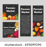 set of organic fruits cards.... | Shutterstock .eps vector #695099290