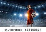 little soccer champion. mixed... | Shutterstock . vector #695100814