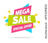sale sticker with sign mega... | Shutterstock . vector #695109853