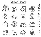 water icon set in thin line... | Shutterstock .eps vector #695115304