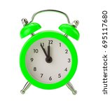 Green Alarm Clock Isolated On...