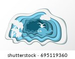 paper art cutting imitation.... | Shutterstock . vector #695119360