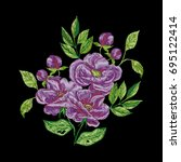 vector embroidery with purple... | Shutterstock .eps vector #695122414