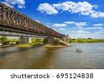 old railway bridge over vistula ...   Shutterstock . vector #695124838