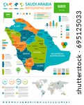 saudi arabia infographic map... | Shutterstock .eps vector #695125033