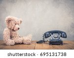 teddy bear toy and old retro... | Shutterstock . vector #695131738
