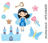 fairy with magic design... | Shutterstock .eps vector #695146600