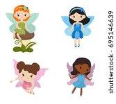vector set of cute girl fairies ... | Shutterstock .eps vector #695146639