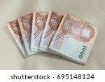 close up of thailand currency ... | Shutterstock . vector #695148124