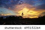 golden sunset at klebang... | Shutterstock . vector #695152264