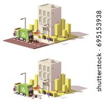 vector low poly building with... | Shutterstock .eps vector #695153938