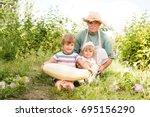 senior gardener and his... | Shutterstock . vector #695156290