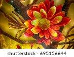 vietnamese flower silk... | Shutterstock . vector #695156644