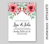 romantic pink anemone peony... | Shutterstock .eps vector #695161870