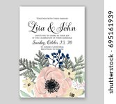romantic pink anemone peony...   Shutterstock .eps vector #695161939