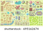 set of landscape elements.... | Shutterstock .eps vector #695162674