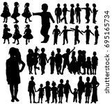 silhouette children  set  group   Shutterstock . vector #695165734