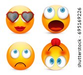 smiley with blue eyes emoticon... | Shutterstock .eps vector #695169226