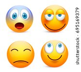 smiley with blue eyes emoticon... | Shutterstock .eps vector #695169379