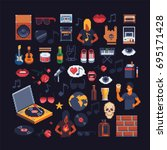 set of music theme accessories... | Shutterstock .eps vector #695171428