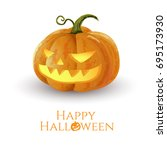 halloween pumpkins isolation... | Shutterstock .eps vector #695173930