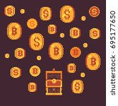 bitcoin and golden coins with... | Shutterstock .eps vector #695177650
