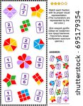 educational math puzzle for... | Shutterstock .eps vector #695179354