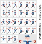 semaphore alphabet flags on a... | Shutterstock .eps vector #695179528