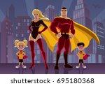 superhero family posing in...   Shutterstock .eps vector #695180368