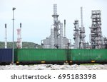 oil refinery and container... | Shutterstock . vector #695183398