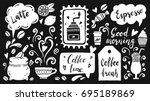 set of coffee time elements... | Shutterstock .eps vector #695189869