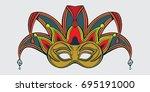 joker carnival face mask. hand... | Shutterstock .eps vector #695191000