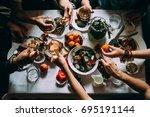 party dinner table  celebrating ... | Shutterstock . vector #695191144