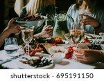party dinner table  celebrating ... | Shutterstock . vector #695191150