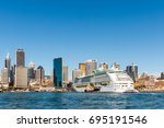 large cruise ship  dock... | Shutterstock . vector #695191546