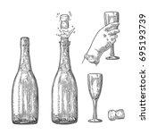 bottle of champagne explosion... | Shutterstock .eps vector #695193739