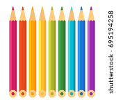 set of color pencils for... | Shutterstock .eps vector #695194258