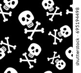 skull and crossbones seamless... | Shutterstock .eps vector #695194498