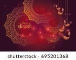 creative diwali festival... | Shutterstock .eps vector #695201368