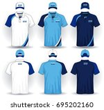 set of uniform template  polo... | Shutterstock .eps vector #695202160